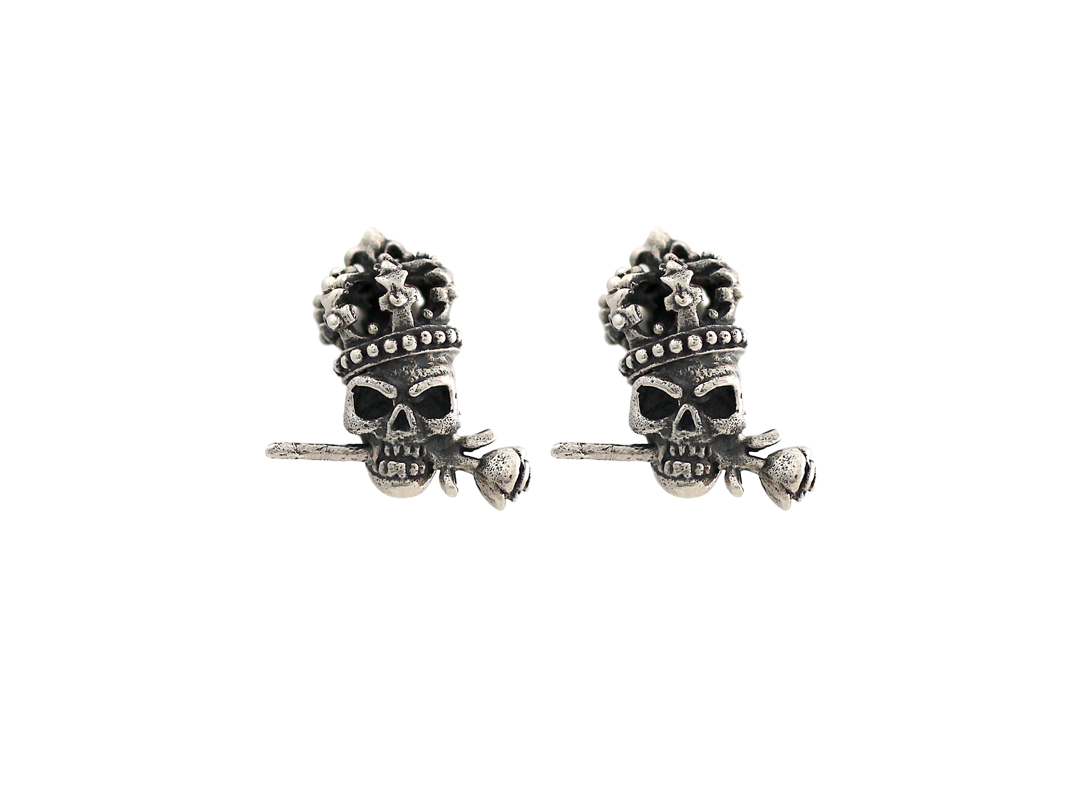 skull sabo at stud rebel thomas heart earrings image