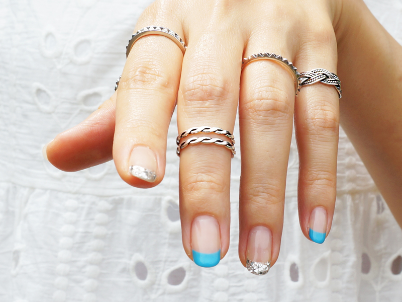 Braided Double Band Knuckle Pinky Toe Ring 925