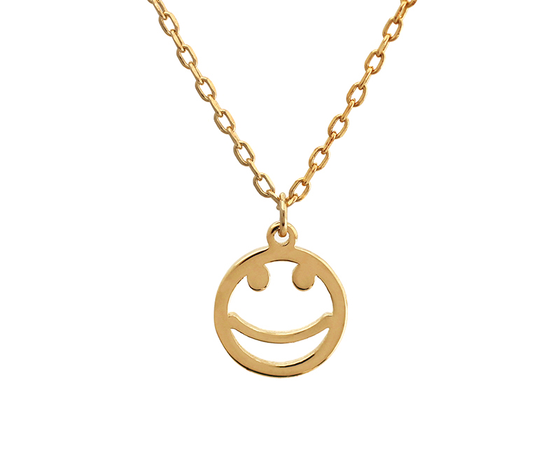 Gold smiley face pendant necklace 925 sterling silver trendy gold smiley face pendant necklace aloadofball Image collections