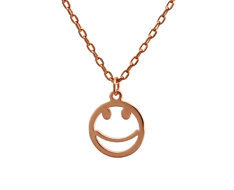 Face Pendant Rose gold smiley face pendant necklace 925 sterling silver trendy rose gold smiley face pendant necklace audiocablefo