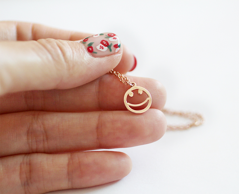 Rose gold smiley face pendant necklace 925 sterling silver trendy rose gold smiley face pendant necklace 925 sterling silver trendy fashion jewelry aloadofball Image collections