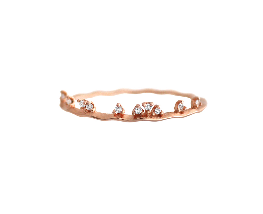 fd6ba4365f92b5 Rose Gold Cluster CZ Crown Wavy Thin Ring - 925 sterling silver ...