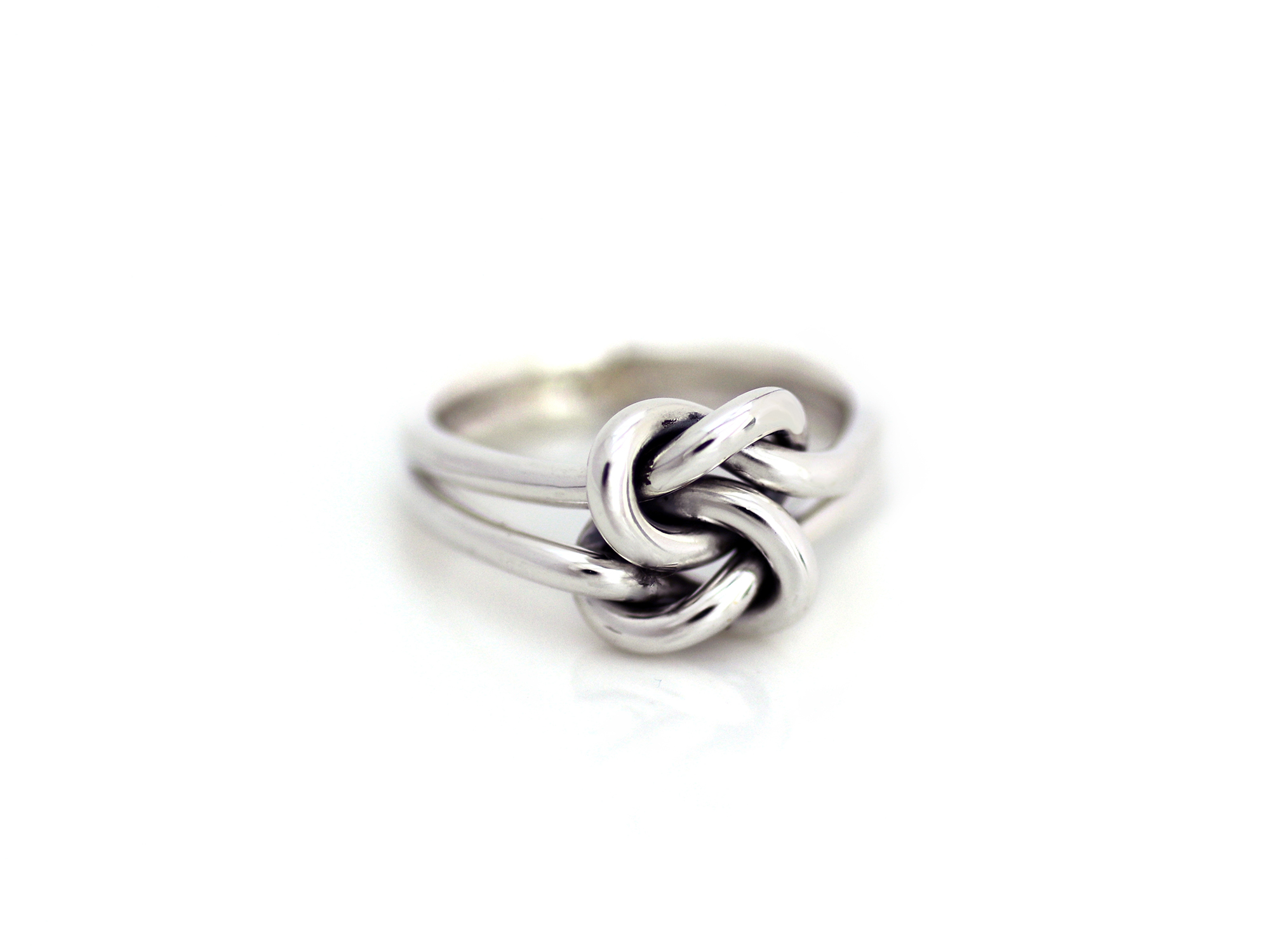 Double Band Double Love Knot Ring 925 Sterling Silver Trendy Fashion Jewelry